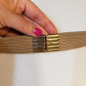 Accessories - Vintage Tapestry Cord Gold Rings Stretch Belt